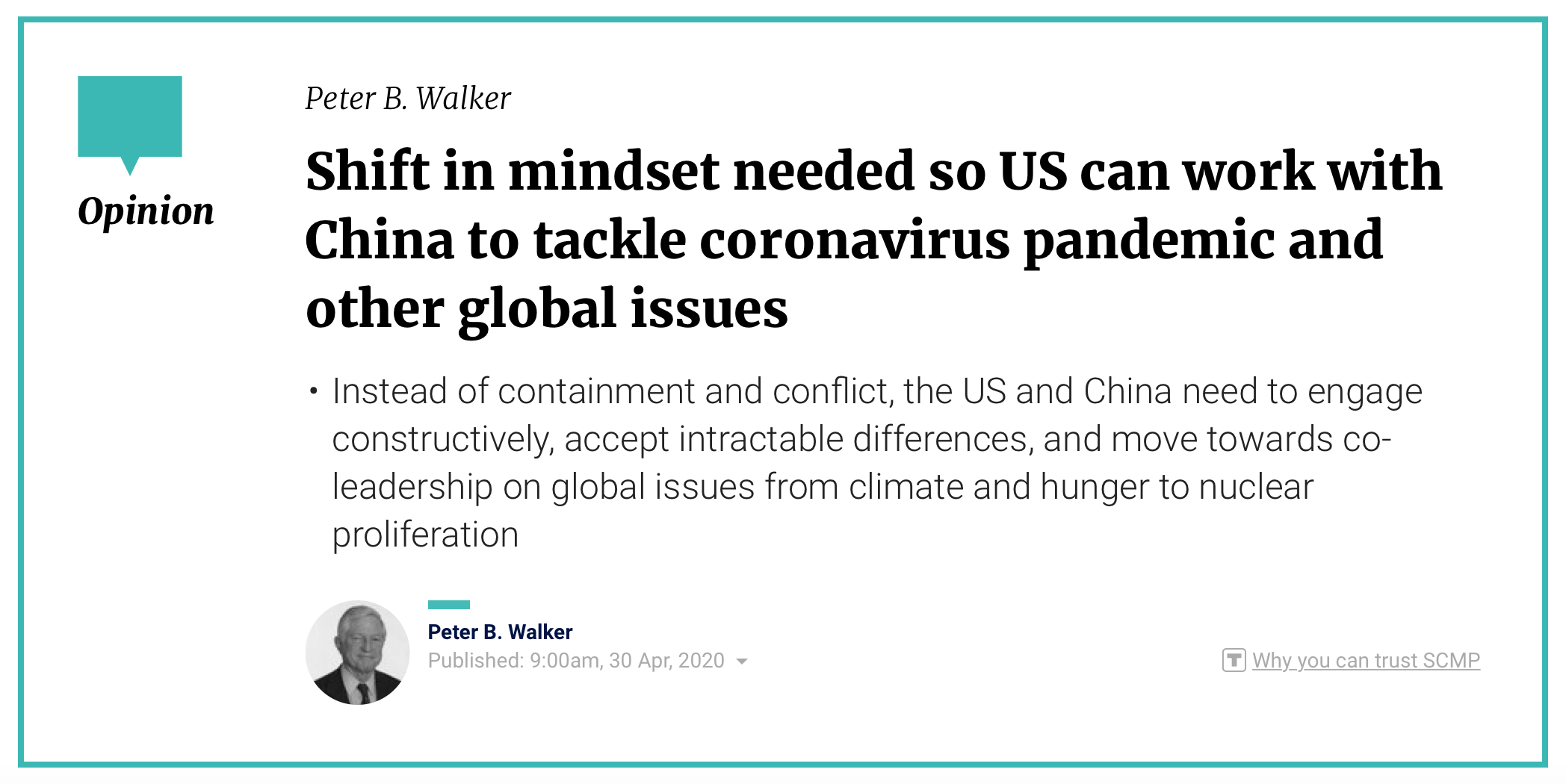 Peter Walker SCMP OpEd: Shift in Mindset Needed to Tackle Pandemic
